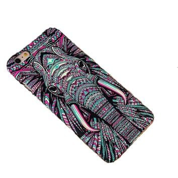 2017 Hot Luminous Embossed Feel Aztec Animal Elephant Chimpanzee Cat Deer Phone Funda Case for Iphone 6 6S 6/6S 7 Plus Capa Para