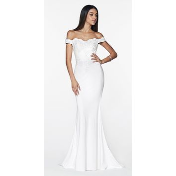 Off White Off Shoulder Floor Length Evening Gown Applique Bodice