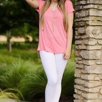 KLR Perfect Piko V-Neck - Strawberry | Tops | Kiki LaRue Boutique