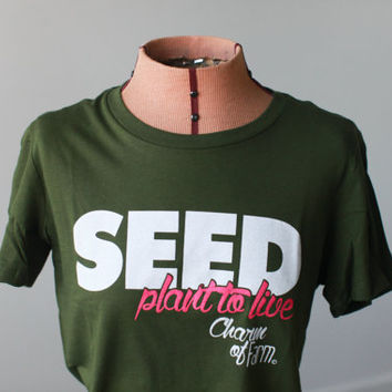 SEED Plant to Live Charm of Farm T-shirt, Green, Seed Saver, White, & Pink, Fitted Tee, Fashion Tee, Farmers Market, Local Farmer