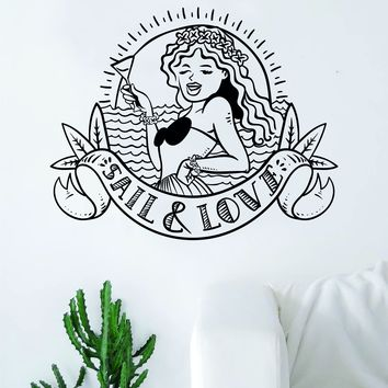 Sail and Love Hawaiian Girl Tattoo Quote Decal Sticker Wall Vinyl Art Home Decor Inspirational Ocean Nautical