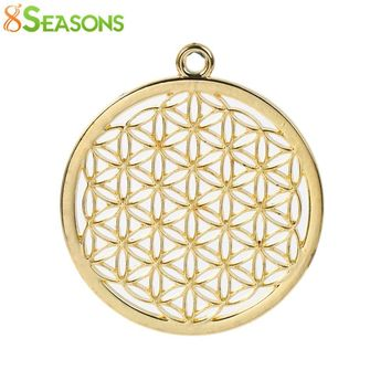"8SEASONS Zinc Based Alloy Flower Of Life Pendants Round gold-color/dull silver-color Hollow 44mm(1 6/8"") x 40mm(1 5/8""), 3 PCs"
