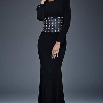 Jovani - Long Sleeve with Leather Waistline Black Evening Dress M309