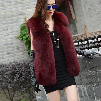 Clobee 2018 Winter Women's Faux Fur Coat Artificial Fur Vest Furry Vests Femme Jackets Plus Size Warm Fake Fur Gilet Z162