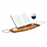 Zoxoro.com.au | Umbra Aquala Bamboo and Chrome Bathtub Caddy