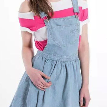 Light Blue Denim Suspenders Mini Skater Dress