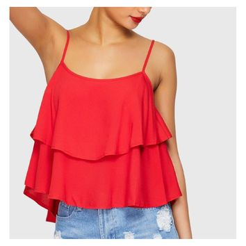 Red Solid Ruffle Layered Cami Top