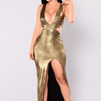 Going On Holiday Slit Dress - Gold