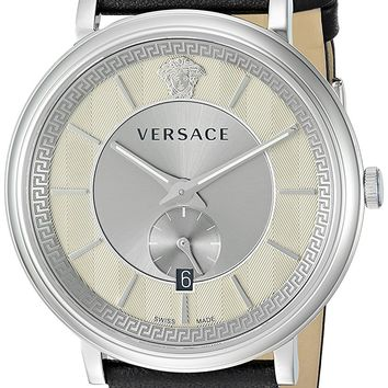 Versace Men's 'THE MANIFESTO EDITION' Quartz Stainless Steel and Leather Casual Watch, Color:Black (Model: VBQ080017)
