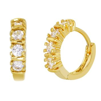 Gold Tone Prong Set Clear Crystal Huggie Small Hoop Earrings for Women