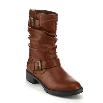 REFRESH PACE-01 Women's Slouchy Low Heel Side Zipper Comfort Mid-calf Riding Boot, Color:BROWN, Size:8