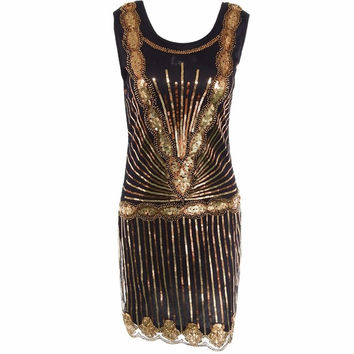 Women's Vintage 1920s Inspired Shining Black With Gold Beaded Sequin Art Deco Flapper Dress perfect wedding party dress