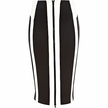 Black and white scuba zip pencil skirt - tube / pencil skirts - skirts - women