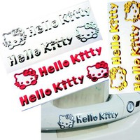 Hello Kitty Car Stickers 3D Flexible Glue Decals For Door Handle or Rearview Mirrors Colorful Waterproof 2 PCS/Set 11*2cm D16