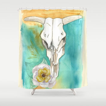 Cow Skull Shower Curtain - Southwestern,  turquoise, gold, art for bathroom, Santa Fe style, watercolor,  decor, South West home