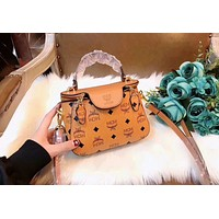 MCM Stylish Ladies Shopping Bag Leather Zipper Buckle Shoulder Bag Handbag Crossbody Satchel Brown I-AGG-CZDL