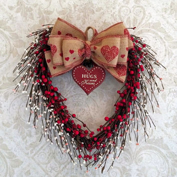 Berry Heart Wreath, Valentine Wreath, Valentines Day Wreath, Valentine Decor, Valentine Door Wreath, Heart Shaped Wreath, Grapevine, Etsy