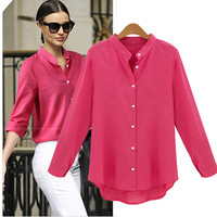 Autumn Occupational Shirt Candy Colors Long Sleeve Shirts Tops Blouse