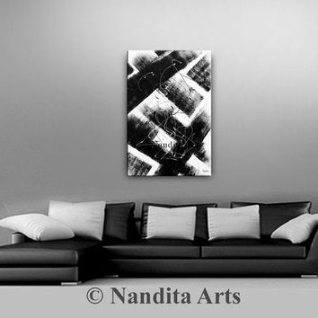 """Abstract Black and White Minimalist Art, Original Minimal Painting on Canvas Modern Wall Art Decor, Contemporary Art Gifts 24x36""""/61x62cm"""