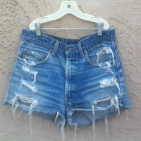 styledbyperuvian — Fabolous Distressed High Waisted Vintage Jean Shorts