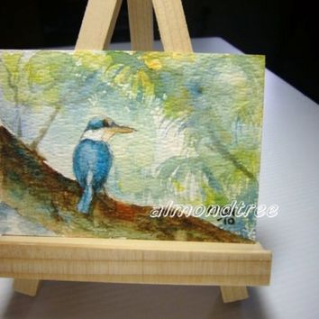 Original ACEO, peinture, Watercolor Painting White Collared Kingfisher Bird id1240334