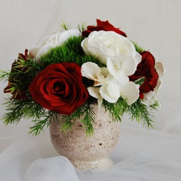 Silk Floral Arrangement- Faux Red Roses, Artificial White Hydrangeas, Faux Flower Arrangement, Home Decor Flower, Modern Floral Arrangements