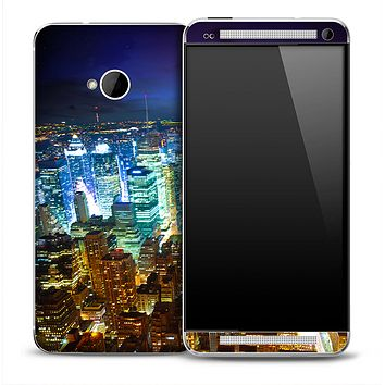 NYC Skyline Night Skin for the HTC One Phone