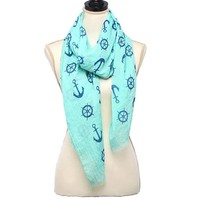 Light Blue and Royal Blue Anchor Scarf