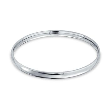 Domed Stackable Bangle Bracelet Silver Tone Stainless Steel 8 5 Inch