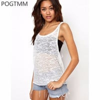 Summer 2017 White Sleeveless Sporting Sexy Tank Top Women Loose Vest Plus Size T Shirt Fitness Wear Female Workout Clothing L15