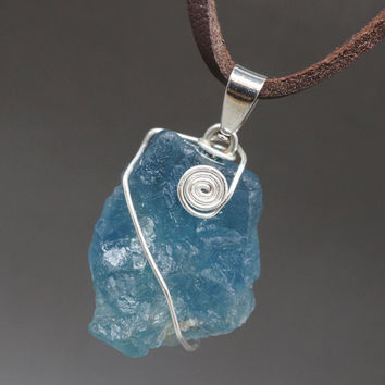 Fluorite Necklace Wrapped Rough Fluorite Necklace  Raw Fluorite Jewelry  Leather Fluorite Necklace