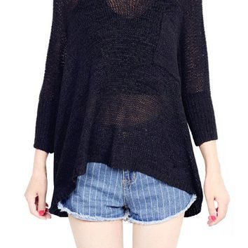 Long Sleeve V-Neck Hollow Pure Color Loose Sweaters For Women