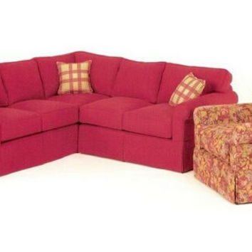 2 pc sectional sofa with rolled arms and skirted bottom