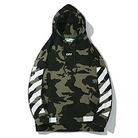 Off White High Quality New Fashion Bust Letter Print And Cross Print Women Men Camouflage Thick Keep Warm Hooded Long Sleeve Sweater Top