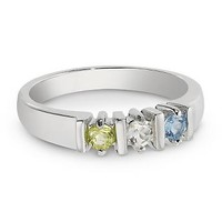 Personalized Sterling Silver 3 Birthstone Ring With Free Keepsake Box, Add Your Message