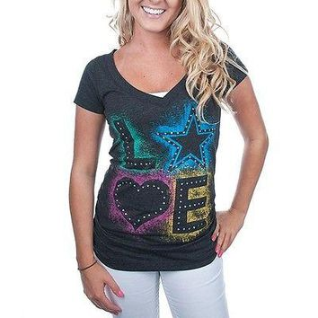 Dallas Cowboys Ladies Blackout Tri Blend Love Shirt NFL Licensed Womens Apparel