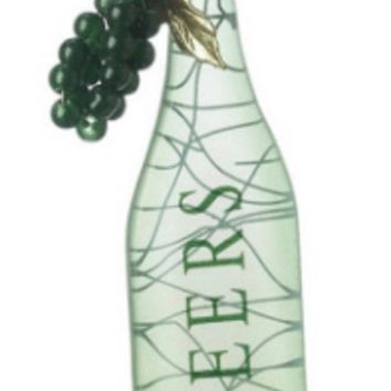 "Tuscan Winery ""CHEERS"" Green Wine Bottle with GrapesTag Christmas Ornament 5"""