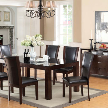 7 Pc. Astoria I Contemporary Style Dark Cherry Wood Finish Dining Set with black tempered glass table top