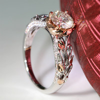 Queen Brilliance 1 Ct F Color Engagement Wedding Moissanite Diamond Ring With Real Diamond Accents Solid 14K 585 Rose White Gold