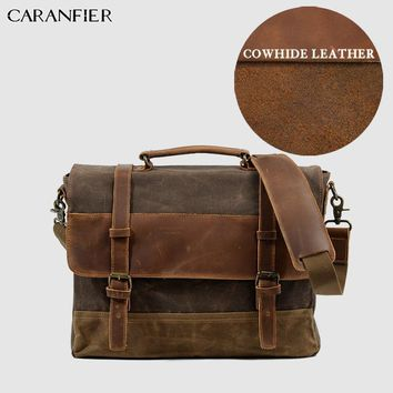 Mens Briefcase Business Oil Wax Cow Leather Canvas Unisex Messenger Bag Large Capacity Laptop Shoulder Handbags 201