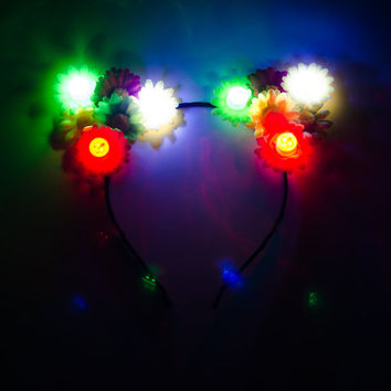 Rasta LED Cat Ear Headband, Floral Cat Ears, Burning Man Clothing, Beyond Wonderland, Nocturnal Wonderland, Escape Music Festival, PLUR