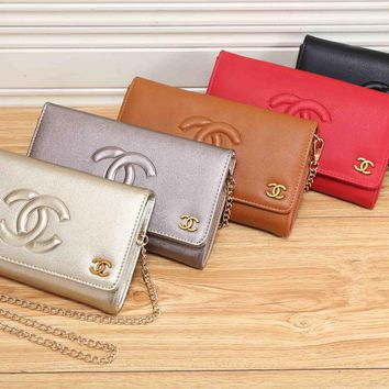 Chanel Fashion Embossed Letter Single Shoulder Messenger Bag Women Chain Small Square Bag Clutch