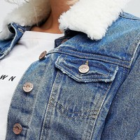 New Look Fleece Collar Denim Jacket at asos.com