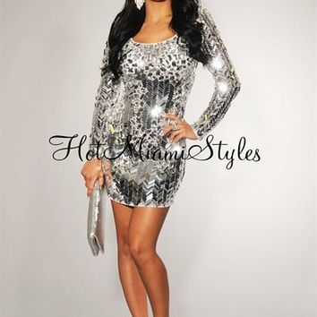 Silver Mirrored Sequined Rhinestones Embellished Dress - Inspired by JLO
