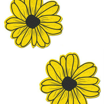 DAISY: YELLOW AND BLACK WITH BLACK FLOWER NIPPLE PASTIES