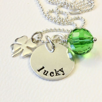 Lucky charm with Irish Shamrock and green crystal bead sterling silver hand stamped necklace St Patrick's Day special four leaf clover charm
