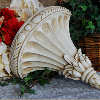 Shabby cottage chic home decor: Ornate vintage white hand-painted decorative scroll wall sconce shelf