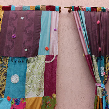 Hippie Curtain Boho Curtain Panels Scarf Curtain  Large Curtain Patchwork Curtain EXPRESS SHIPPING