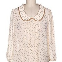 Amiable Modesty Peter Pan Collar Pintuck Blouse in Cream/Beige | Sincerely Sweet Boutique