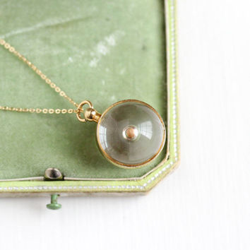 Vintage Clear Lucite Mustard Seed Pendant Necklace - Retro 1950s Spherical Orb Charm Symbolic Faith & Change 14k Gold Filled Chain Jewelry